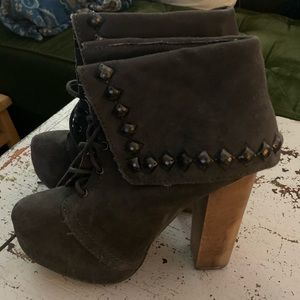 Naughty monkey grey platform suede boots nwot 6.5